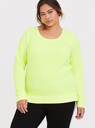 Plus Size Neon Yellow Lattice Active Sweatshirt, YELLOW, alternate