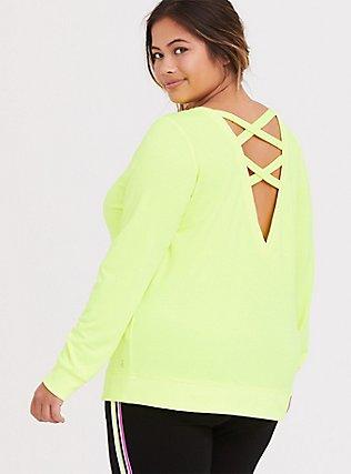 Plus Size Neon Yellow Lattice Active Sweatshirt, YELLOW, hi-res