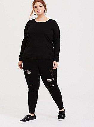 Plus Size Black & Neon Striped Lattice Active Sweatshirt, DEEP BLACK, alternate