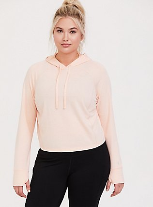 Light Pink Crop Active Hoodie, PINK, alternate
