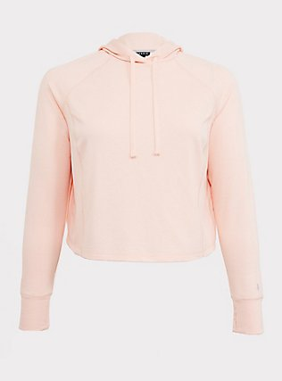 Light Pink Crop Active Hoodie, PINK, flat