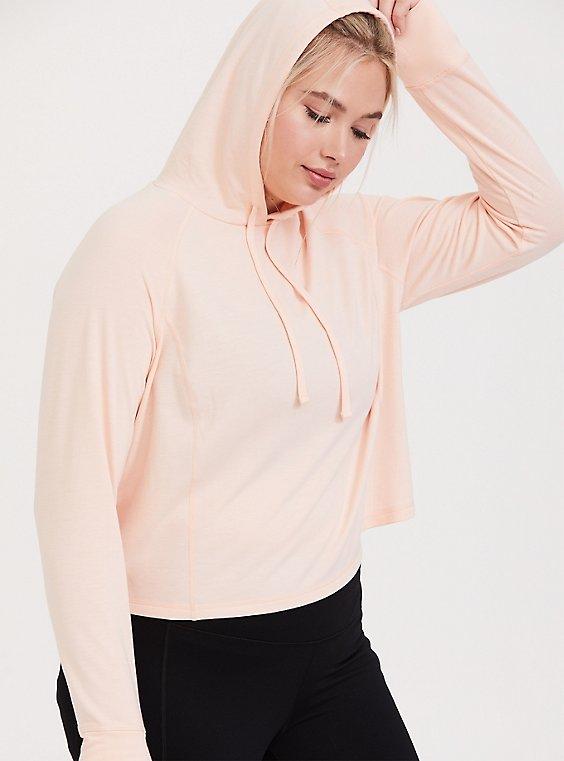 Light Pink Crop Active Hoodie, , hi-res