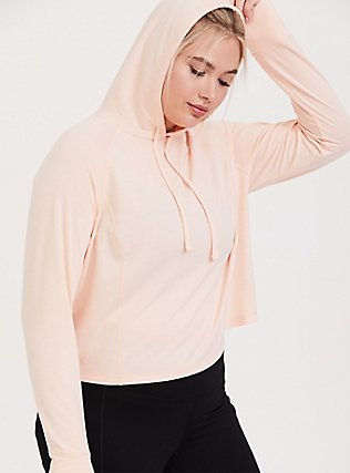 Light Pink Crop Active Hoodie, PINK, hi-res