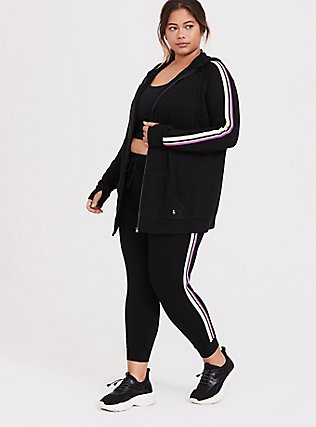 Black & Neon Stripe Terry Active Zip Hoodie, DEEP BLACK, alternate