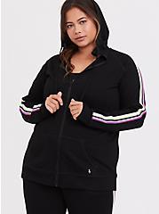 Black & Neon Stripe Terry Active Zip Hoodie, DEEP BLACK, alternate