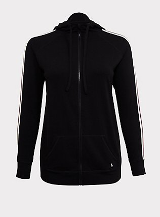 Black & Neon Stripe Terry Active Zip Hoodie, DEEP BLACK, flat
