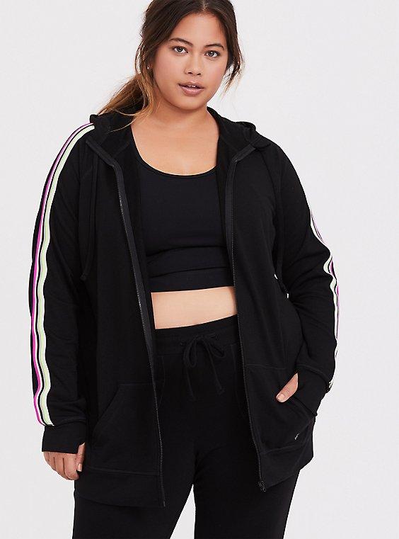 Black & Neon Stripe Terry Active Zip Hoodie, , hi-res
