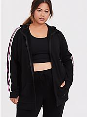 Black & Neon Stripe Terry Active Zip Hoodie, DEEP BLACK, hi-res