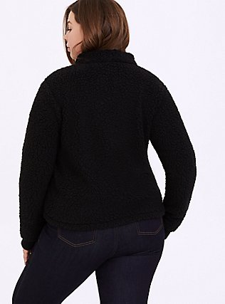 Black Faux Sherpa Half-Zip Front Active Teddy Pullover, DEEP BLACK, alternate