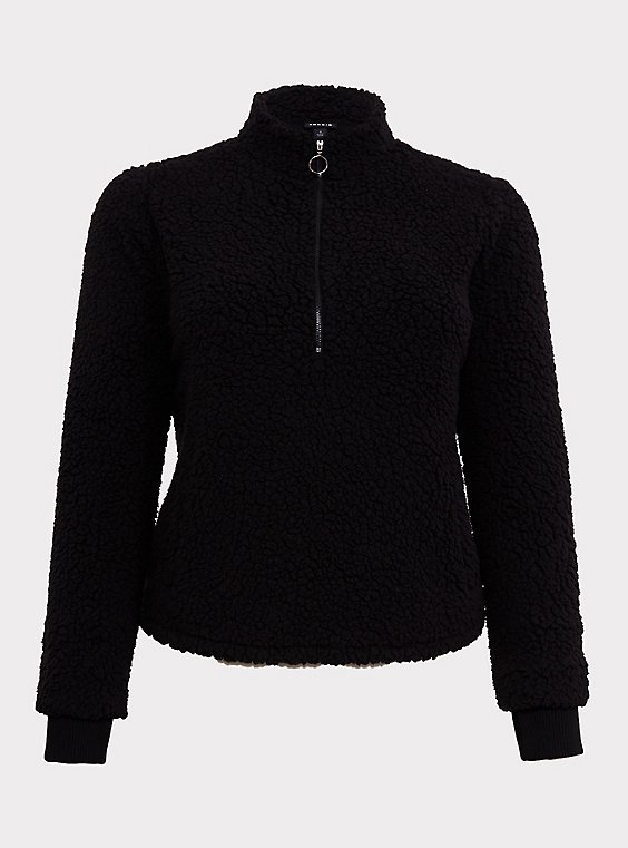 Black Faux Sherpa Half-Zip Front Active Teddy Pullover, , flat