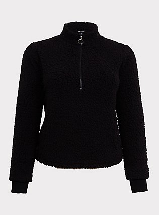 Black Faux Sherpa Half-Zip Front Active Teddy Pullover, DEEP BLACK, flat