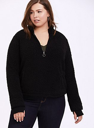 Black Faux Sherpa Half-Zip Front Active Teddy Pullover, DEEP BLACK, hi-res