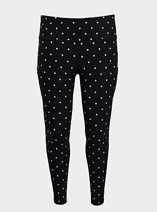 Black & White Polka Dot Wicking Active Legging with Pockets, MULTI, flat