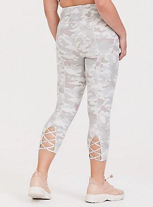 Light Grey Camo Lattice Back Crop Wicking Active Legging, MULTI, alternate