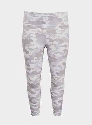 Light Grey Camo Lattice Back Crop Wicking Active Legging, MULTI, flat