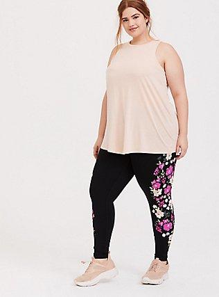 Plus Size Blush Pink Mesh Inset Wicking Active Muscle Tank, PINK, alternate