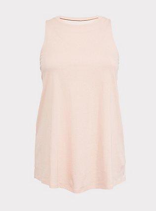 Plus Size Blush Pink Mesh Inset Wicking Active Muscle Tank, PINK, flat