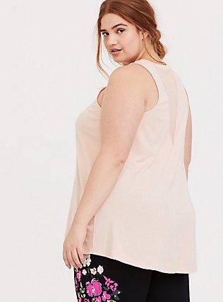 Plus Size Blush Pink Mesh Inset Wicking Active Muscle Tank, PINK, hi-res