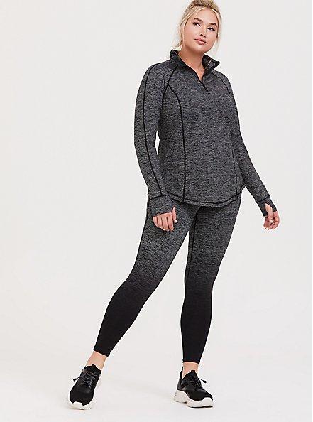 Dark Grey Space-Dye Half-Zip Front Active Pullover, MULTI, alternate