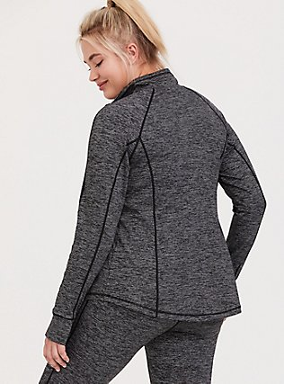Dark Grey Space-Dye Half-Zip Front Active Pullover, MULTI, alternate