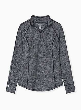 Dark Grey Space-Dye Half-Zip Front Active Pullover, MULTI, flat