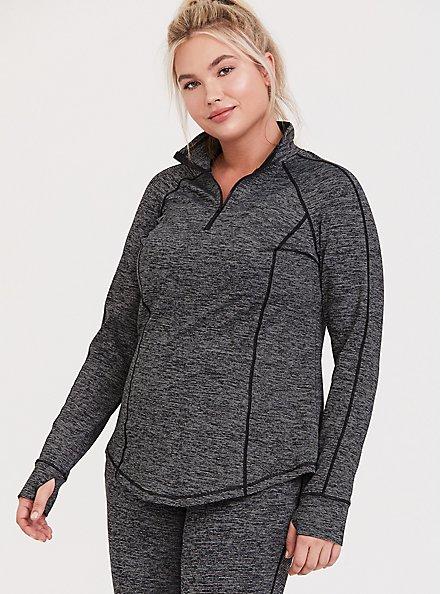 Dark Grey Space-Dye Half-Zip Front Active Pullover, MULTI, hi-res