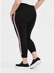 Black & Neon Stripe Terry Crop Active Jogger, DEEP BLACK, alternate