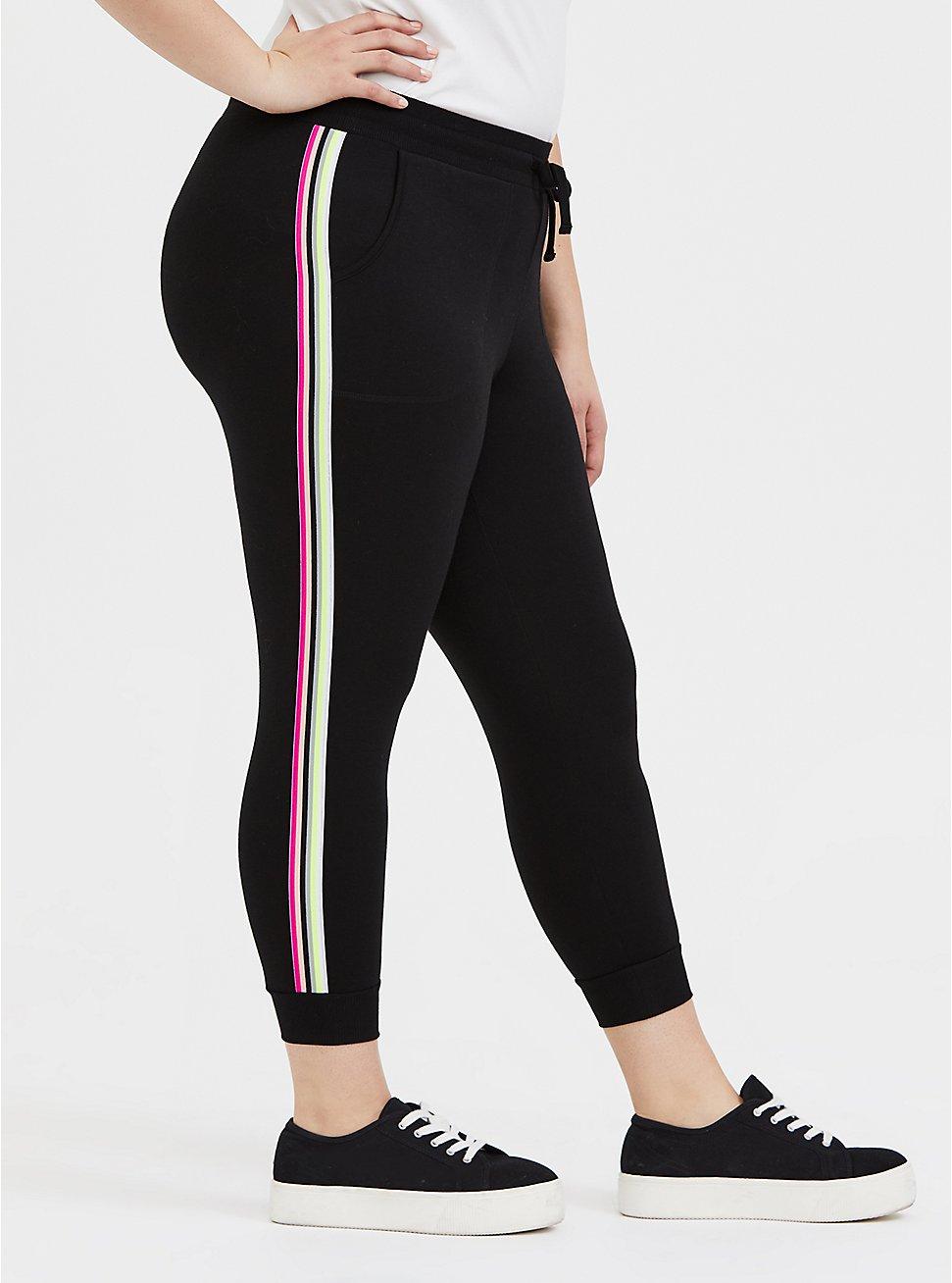 Black & Neon Stripe Terry Crop Active Jogger, DEEP BLACK, hi-res