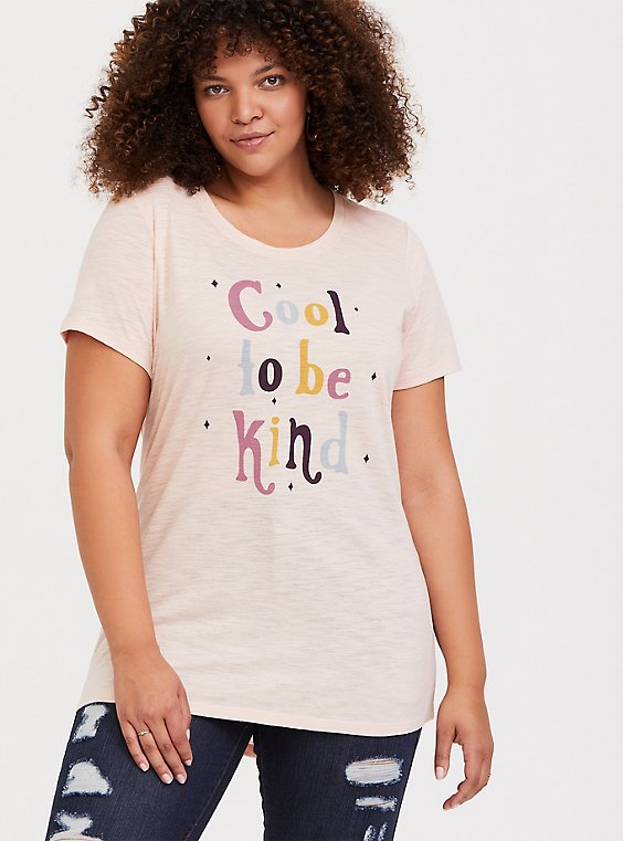 Cool To Be Kind Light Pink Sim Fit Crew Tee, , hi-res