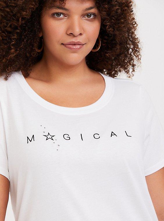 Plus Size Magical White Slim Fit Crew Tee, , hi-res