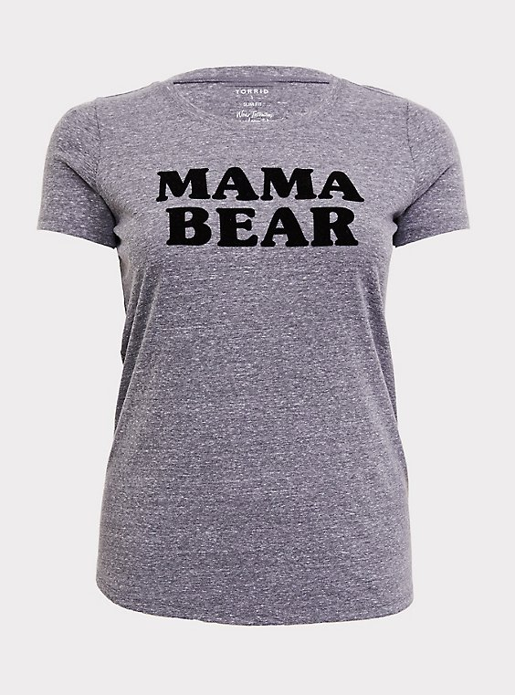 Plus Size Mama Bear Grey Slim Fit Crew Tee, , flat