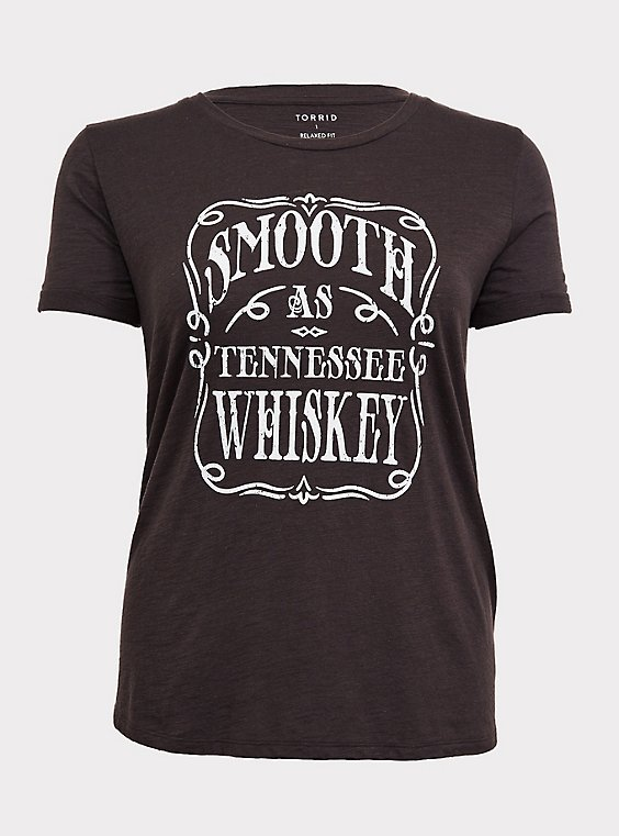Plus Size Black Slub Knit Smooth As Tennessee Whiskey Vintage Crew Tee, , flat