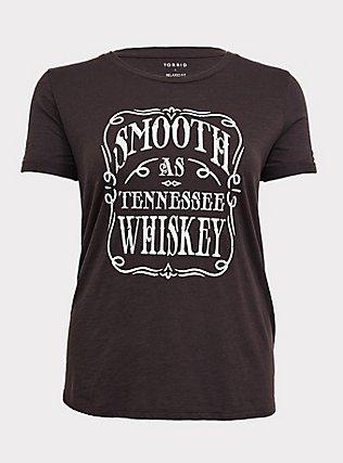Plus Size Black Slub Knit Smooth As Tennessee Whiskey Vintage Crew Tee, VINTAGE BLACK, flat
