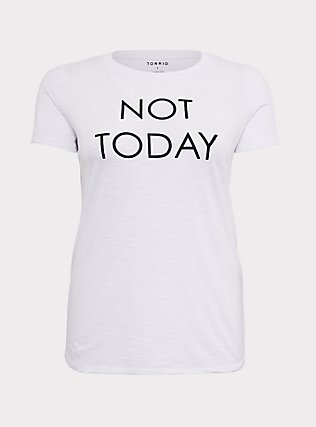 Not Today White Slim Fit Crew Tee, BRIGHT WHITE, flat