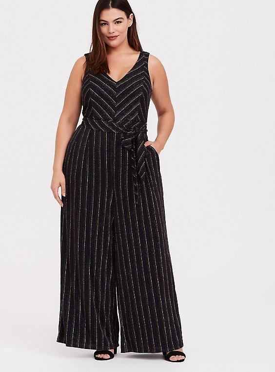 Plus Size Rainbow Stripe Glitter Jumpsuit, , hi-res