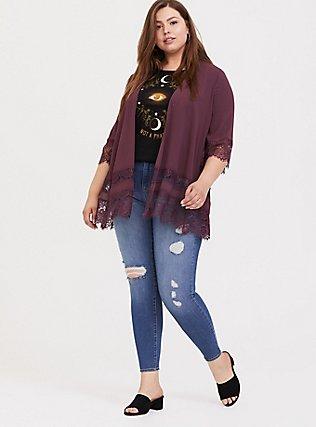 Plus Size Purple Wine Lace Chiffon Kimono, EGGPLANT, alternate