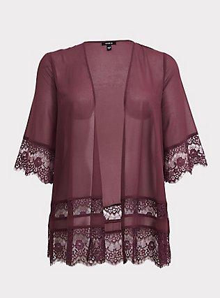 Plus Size Purple Wine Lace Chiffon Kimono, EGGPLANT, flat