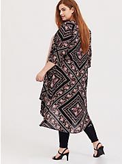 Black Floral Geo Longline Kimono, GEO-MULTI, alternate
