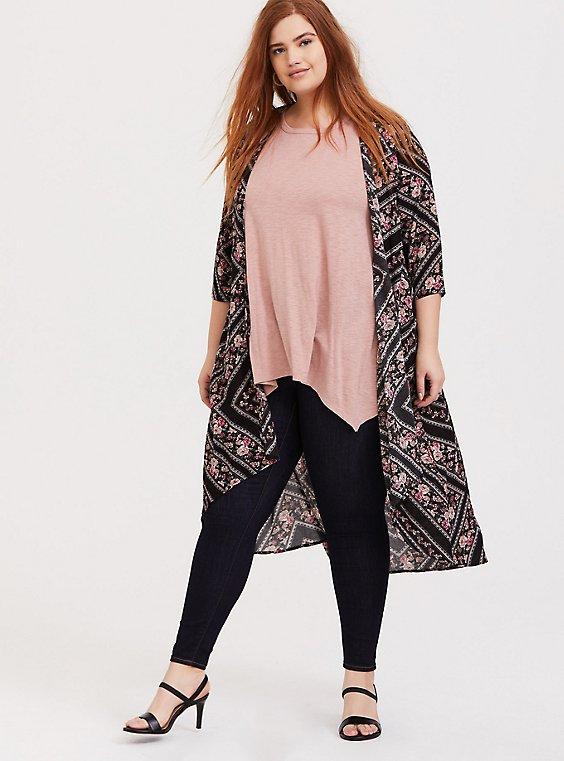 Black Floral Geo Longline Kimono, , hi-res