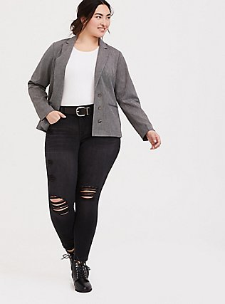 Black & White Tweed Textured Blazer, DARK PEARL GREY, alternate