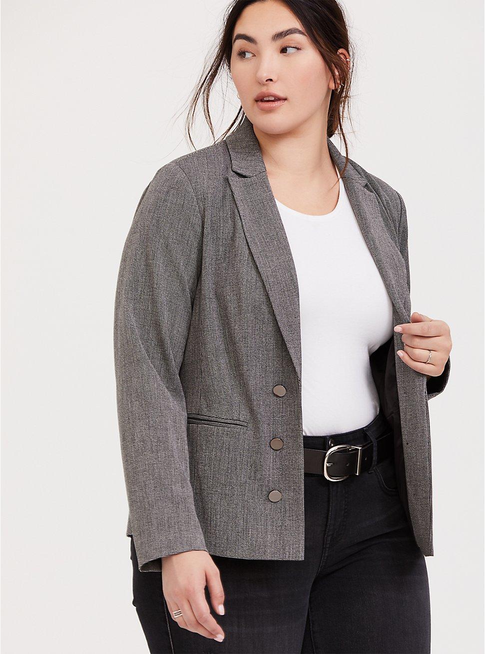Black & White Tweed Textured Blazer, DARK PEARL GREY, hi-res