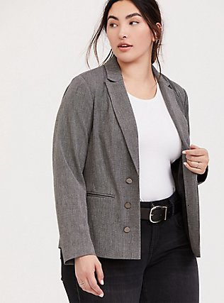 Black & White Tweed Textured Blazer, DARK PEARL GREY, hi-res