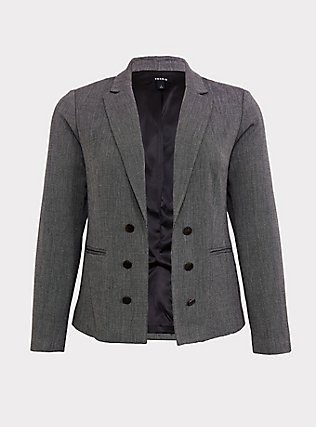 Black & White Tweed Textured Blazer, DARK PEARL GREY, ls
