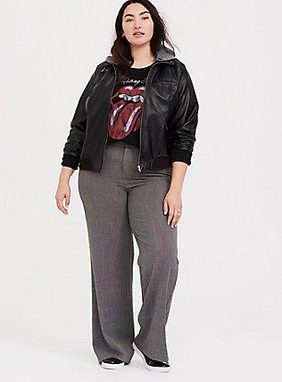 Plus Size Black Faux Leather Hooded Bomber Jacket , DEEP BLACK, alternate