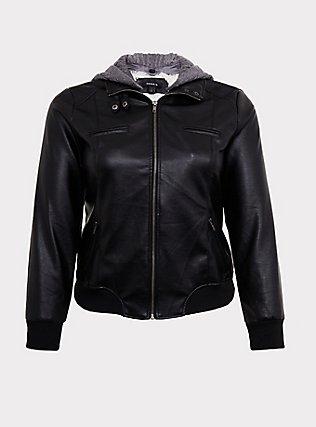 Plus Size Black Faux Leather Hooded Bomber Jacket , DEEP BLACK, flat