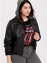 Black Faux Leather Hooded Bomber Jacket , DEEP BLACK, hi-res