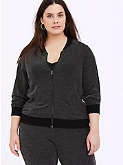 Black Sparkle Lurex Bomber Jacket, DEEP BLACK, alternate