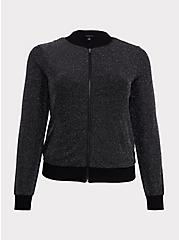Black Sparkle Lurex Bomber Jacket, DEEP BLACK, hi-res