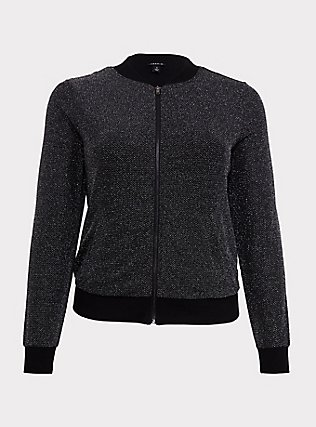 Black Sparkle Lurex Bomber Jacket, DEEP BLACK, flat
