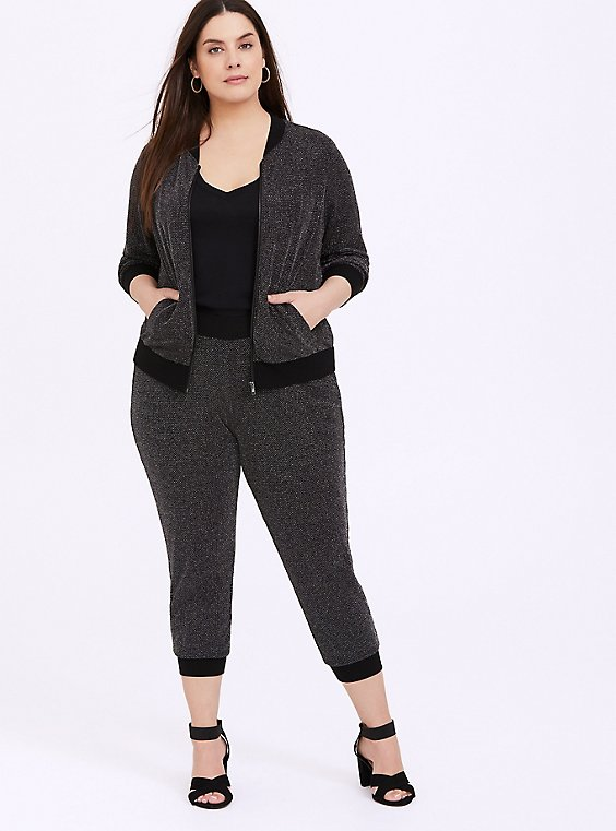 Black Sparkle Lurex Bomber Jacket, , hi-res
